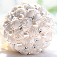 Wholesale New Flower Ribbon Design - Ivory Romantic Rhinestone Pearls Artificial Bridal Bouquets Rose Flowers New Arrival Unique Design Bride Bridesmaid Flower With Ribbon Cheap