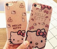 Wholesale Kitty Cell Iphone Case - Hello Kitty Soft Side PC Case Cover for Iphone X 8 6s 6Plus 7 7Plus Bling Glitter Powder Shine Cell Phone Case