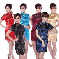 kostenlose chinesische frauen kleider groihandel-Kostenloser Versand ! Dame Party Hochzeit Kleidung Drachen Brokat kurzes Kleid Traditionelle chinesische Kleidung Qipao Cheongsam für Frauen