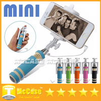 Wholesale Pole Phone - Portable Mini Selfie Stick Cell Phone Clip Holder All IN ONE Cable Take Pole Wired Control Monopod For iPhone Samsung