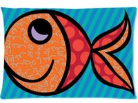 Wholesale Britto Cases - Blue Fish Romero Britto Home Decoration Office Bed Sofa Waist Zippered Pillow Cases Cushion 16x24 (Two side)