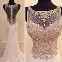 Wholesale Chiffon Sheath Sweep Bateau - vestido de festa Prom Dresses 2016 Real Image Scoop Neck Crystal Beads Sparkly Sheer Illusion Sheath Long Formal Party Gowns