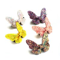 10pc / Lot Cartoon Flying Butterfly Hair Clip Colorized Glitter Artificial Leather Hairpin Animal Party Sparkly Butterfly Barrette