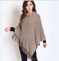 Wholesale Long Crochet Shawl Cape - Newest fashion batwing knit poncho shawl cape elegant women's hollow out fringed shawl sweater
