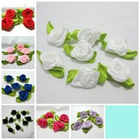 Wholesale Mixed Satin Ribbon - Festive Party Supplies Decorative Flowers Wreaths 210 pieces lot MIXED loveliness swirl satin ribbon rose flower  Craft -A03*7