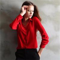 blusas de oficina xxl al por mayor-Al por mayor-5 colores desgaste del trabajo 2015 mujeres camisa gasa Blusas Femininas Tops damas elegantes formales oficina blusa más el tamaño XXL