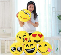 Styles s18 Fashion Emoji Expression Coussin Oreiller mignon Belle QQ Cartoon Jaune Round Décoration Chaise Sofa Cushion Covers Stuffed PlushToy