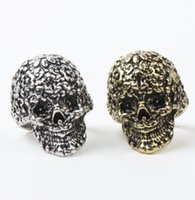 carved flower ring - 10pcs Hot Colors Retro Royal Flower Carved Skull Rings Silver Bronze Plated D Ring mic