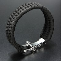 Wholesale Buckle Shackle - Free shipping Black ParaCord Rope Outdoor Survival Bracelet Camping Steel Shackle Buckle Hot sale