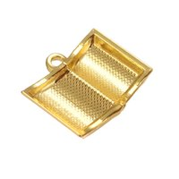Wholesale Gold Book Charm - Fitness 50pcs a lot Zinc Alloy Antique Silver&Gold Custom 3D Open Book Pendant Charms For Handmade DIY Jewelry