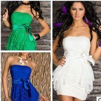 polyester şerit beyaz toptan satış-Yeşil beyaz siyah mavi Polyester elyaf Seksi iç çamaşırı, boyutu M XXL Kadınlar hiçbiri Kollu clubwear elbise Şerit kemer çift dantel elbise