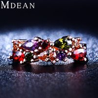 Wholesale Colored Wedding Set - Colored stone Rose Gold plated Cubic Zircon diamond Engagement Ring Sets For Women jewelry wedding bague accessories MSR211