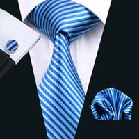 mavi cep kareleri toptan satış-Erkek Kravat Cep Kare Kol Düğmeleri Mavi Şerit Seti 8.5 cm Genişlik Toplantı Iş Rahat Parti Kravat Jakarlı Dokuma N-1204