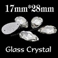 armut biçimli kristaller toptan satış-Toptan-Sıcak kek gibi satmak 60 adet 17x28mm Armut Damla Kristal Temizle Başarmak On Cam Rhinestones Gözyaşı şekil Elbise Yapımı SF0124