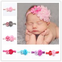 Elastic Band Headwrap Lovely Multi Angles Shabby Edge Flores Design Headband Com Diamond Baby Hair Bands Confortável 1 5ml B