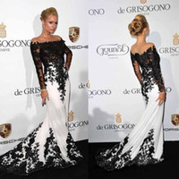 Wholesale Dress Seller Prom - Hot Sexy Sheer Prom Dresses Long Sleeves Illusion Sweep Train Appliques Lace Top Seller Corset Slim See Through Pleats Celebrity Evening