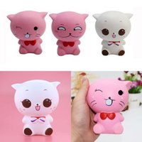Wholesale Kawaii Bows - Bow Tie Cat Squishy Toys Slow Rising Jumbo Smile Cat Squeeze Kawaii Phone Charms Bread Cake Stress Reliever Kids Gift