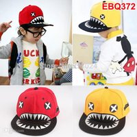 Wholesale Wholesale Youth Kids Caps Hats - 2015 Fashion Cartoon Shark kids baseball caps hats Hip hop BOY street Snapback youth snapback hats children snapback caps