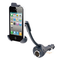 Wholesale Iphone Cigarette Charger Holder - Universal Car Phone Charger Holders Cigarette Lighter & Dual USB Charger Mount Stand For Iphone 5 Samsung HTC Smartphones