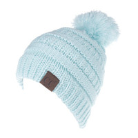 Wholesale Child Knitting - Letter CC Beanies Winter Knitted Hat with Pom Pom Kids Warm Beanies Cap CC Label Skullies Beanies Girls Warm Caps for Children
