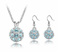 Wholesale disco ball pendant set for sale - Group buy Shamballa Crystal Bead Disco Ball Charm Silver Pendant Necklace Stud Earring Set High grade High end Jewelry Earring The Czech Drill Feminin