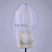 Wholesale honey bridal - 2016 Simple Short Wedding Veils with Bling Beadeds Sequins Crystals Two Layer Wasit Length White Tulle Cheap Bridal Accessories Honey
