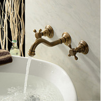 Wholesale Antique Wall Faucets - Wholesale And Retail NEW Antique Brass Widespread Wall Mounted Bathroom Faucet Basin Sink Mixer Tap