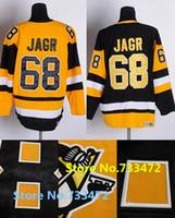 Wholesale Vintage Hockey Jerseys China - Factory Outlet, Jaromir Jagr Jersey Pittsburgh Penguins Jerseys #68 Black Yellow CCM Vintage Throwback Ice Hockey Jerseys China