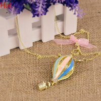 Wholesale Long Rainbow Dress - 2015 Necklace Hot New Fashion Jewelry Colorful Aureate Drip Hot Air Balloon Pendant Party Rainbow Long Necklace For Dress Coats Sweater 2999