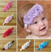 Wholesale Chiffon Flowers Sewing - 2016 New Arrival Baby Toddler Head Band Flower Hair Accessories Chiffon Hand Sewing Good Beautiful Girl Headbands Headwear Kids Hair Band