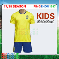 Wholesale Wholesale Quality Shirts - 2018 World Cup Sweden kids jersey kits home yellow IBRAHIMOVIC KALLSTROM best quality children Sweden football shirts kits soccer jerseys