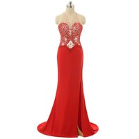 Wholesale Ladies Nude Photos - Red Real Image Evening Dresses 2016 Sheer V Neck Strap Sleeveless Backless Zipper Sweep Train Fashion Ladies Party Dress Beading Sequins