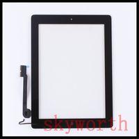 9,7 tablette weiß großhandel-Für iPad 2 3 4 Touch Panel Screen Glas Digitizer ersatz Mit hauptknopf klebstoff Komplette Montage DHL