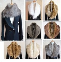 Wholesale Blue Fur Scarf - Women's faux fur collar raccoon fur scarf shawl collar Scarves 13 color 2pcs lot special newest style free shipping