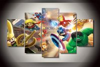Wholesale Group Oil Paintings - 2015 Framed Printed lego marvel super heroes Group Painting room decor print poster picture print canvas Free shipping framed wall art