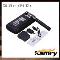 batería de cigarrillo ego x6 e al por mayor-Kamry eGo X6 CE4 Kits de cigarrillos electrónicos 1300mAh X6 Batería de cigarrillo electrónico con atomizador eGo CE4 100% original
