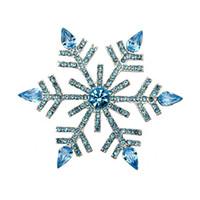 "Wholesale Snowflake Brooches Vintage - 2.68"" Vintage Silver Blue Rhinestone Crystal Diamante Large Snowflake Christmas Brooch"