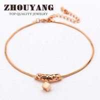Wholesale Rose Gold Anklets - Top Quality Hollow Out 18K Rose Gold Plated Anklets Jewelry Austrian Crystals Wholesale ZYA030