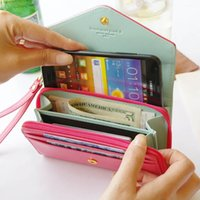 Wholesale Crown Pouch Flip - Wallet Leather Case For HTC IPHONE SAMSUNG Flip Cover with Card Slot Crown Case Handbag 7 Color to Choose