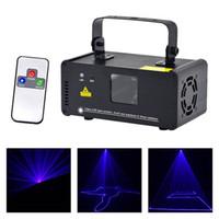 nuevo led dj al por mayor-AUCD Nuevo Mini portátil 8 CH DMX Blue Laser Scanner Efecto Etapa Iluminación DJ Party Club Show LED Proyector Luces DM-B150
