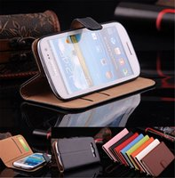 Wholesale S3 Luxury Genuine Leather Case - 100pcs lot Luxury Flip Wallet Cover For Samsung i9300 Galaxy S3 III Original Genuine Leather Case Stand Cases Card Slot