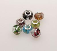 embarque granadas de buracos grandes venda por atacado-Venda quente ! Mix Color Folha De Prata De Ouro Murano Grande Buraco De Vidro Fit Charme Pulseira 13.5mm x9.5mm Jóias DIY frete grátis (mn20)