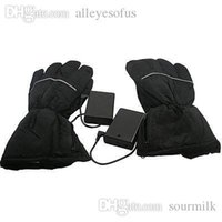 Wholesale Usb Warmer Gloves - Wholesale-Black Winter Warm Electronic Heated Battery and USB Heating Gloves for Outdoor Skiing bicycle Motorcycle Mittens