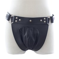 Wholesale Chastity Chains - PVC Leather male chastity belt with lock Chain Male Penis Restraints Fetish Pants SM bondage pants