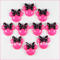 Wholesale Minnie Mouse Resin Flatbacks - Wholesale 50pcs Hot Pink Minnie Mouse Black Bow Resin Cabochons Flatbacks Flat Back Girl Hair Bow Center Crafts Embellishments