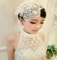 Wholesale White Bridal Top Hat - Luxury wedding event party fascinator top hat lace pearl tassel diamond Bridal Veils hat tiaras women lady headwear charm jewelry white gift