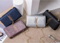Wholesale Blue Shiny Bags - Women Sequin Shoulder Bag Shiny Glitter Chain Bag Pu Leather Flap Party Crossbody Bag Fashion Handbag Women