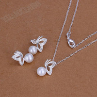Wholesale fashion jewelry sterling silver fine pearl white butterfly pendant necklace