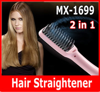 Wholesale Professional Ionic Hair Dryer - MX-1699 2-in-1 PTC Heating Ionic Hair Straightener Professional Comb Brush LCD US UK EU AU Plug