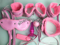 Wholesale Plug Whip - PU Sex Slave Bondage Restraints Kit BDSM Handcuffs Leg cuffs Neck Collar Eye Mask Whip Ball Gag Anal Plug Female 7-in-1 XLY1077